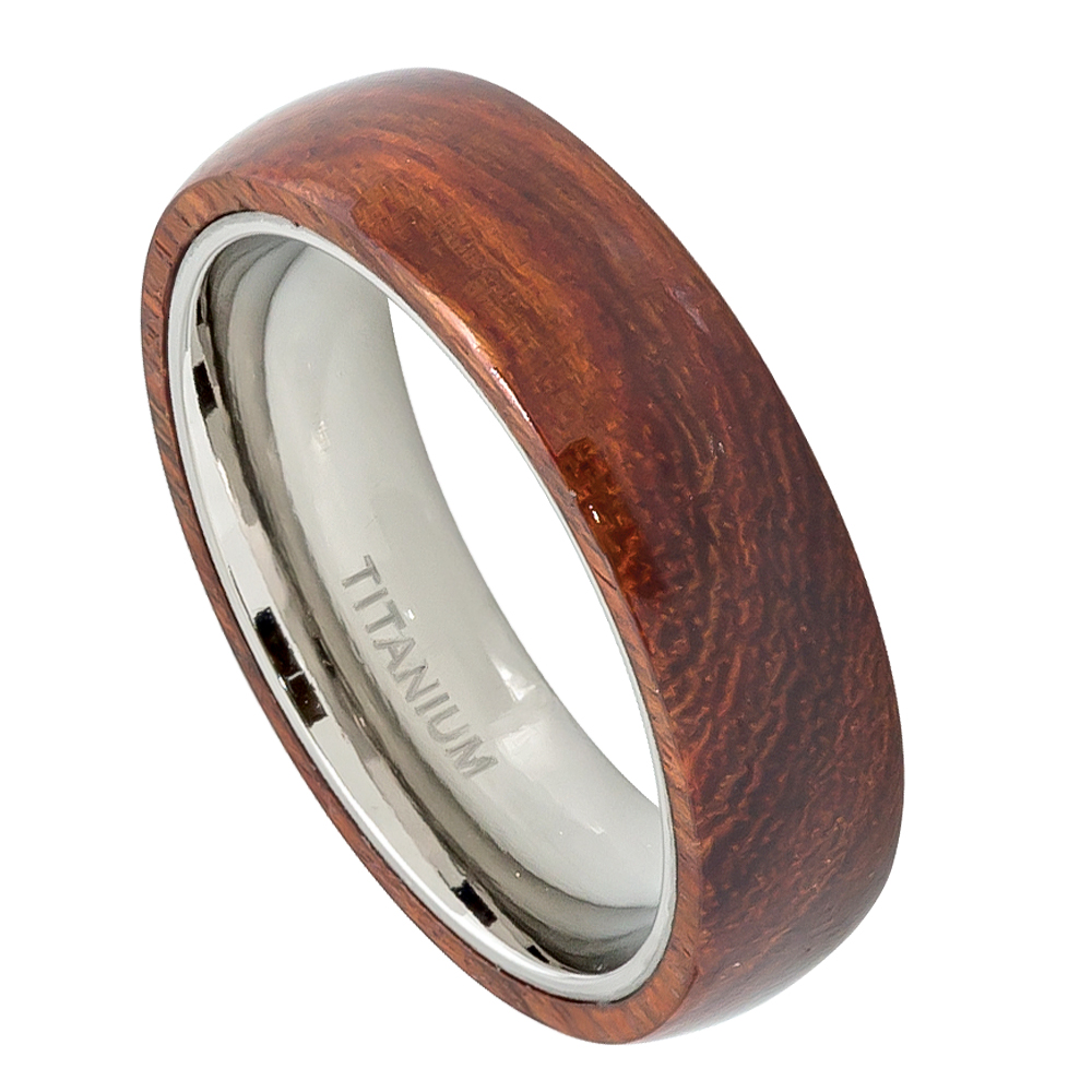 6mm domed titanium ring wedding band with hawaiian koa