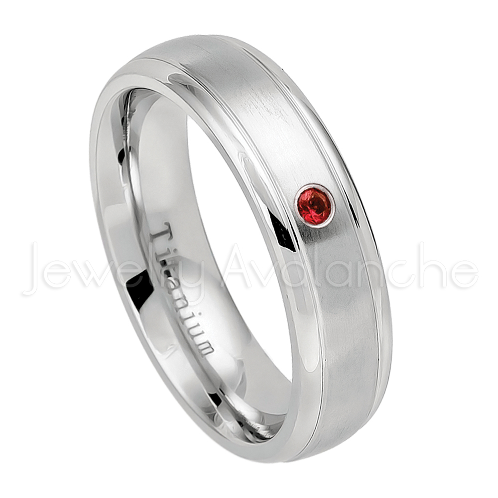 Garnet Ring Bands: 0.21ctw Garnet & Diamond 3-stone Ring, Comfort Fit