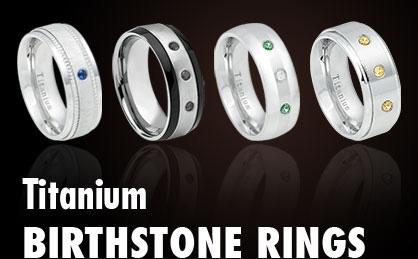 Titanium Birthstone Rings