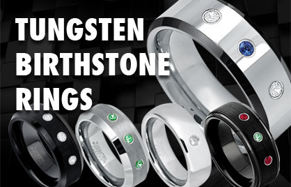 Tungsten Birthstone Rings
