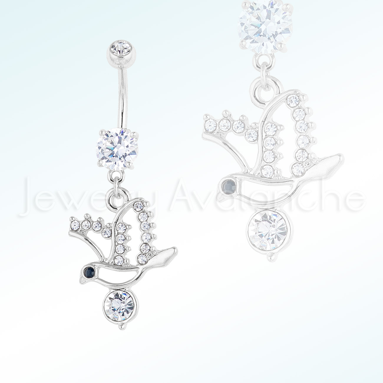 Dangling Multi Cz Flying Dove Belly Ring Double Cz 14g Banana Barbel 316l Surgical Steel Navel Ring Prong Set Cz Brn3042w
