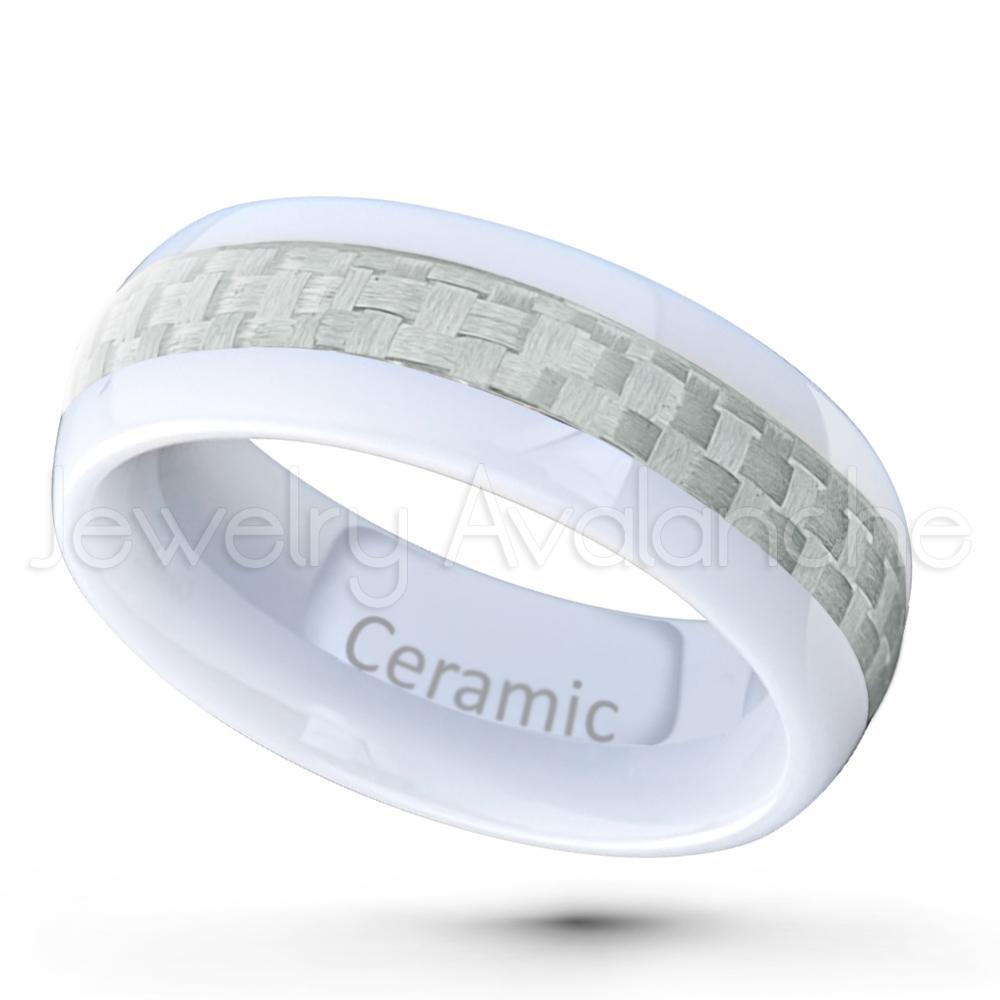 dome white ceramic wedding band 8mm polished finish