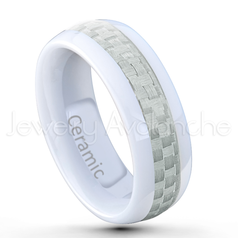 Clearance Sale Dome White Ceramic Wedding Band 8mm Polished