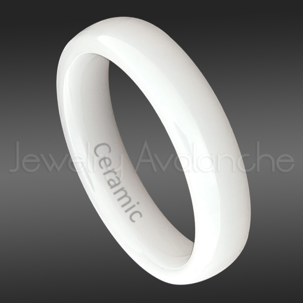 Dome White Ceramic Wedding Band 5mm Polished Finish Comfort Fit