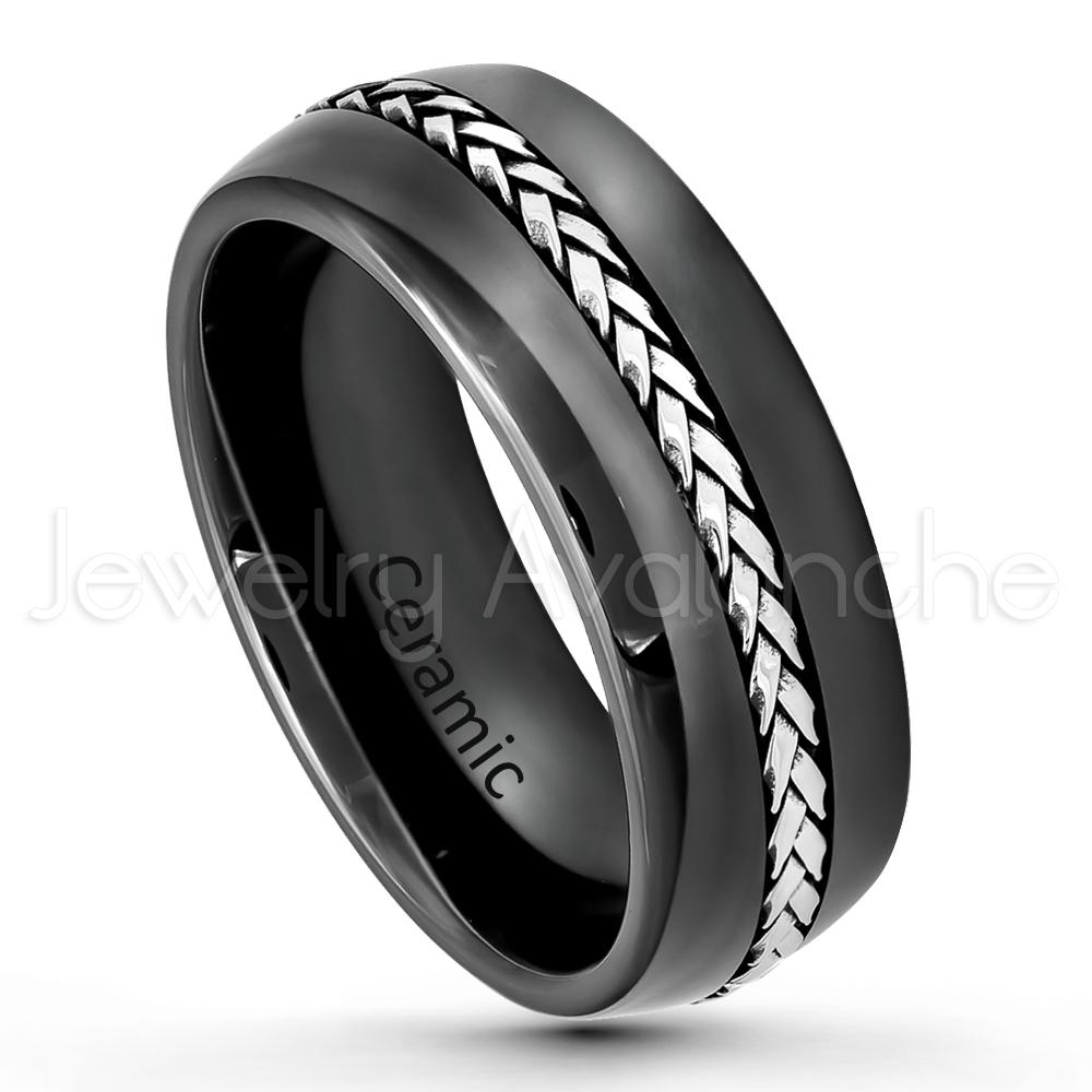 Black ceramic dome wedding band 8mm polished finish for Black ceramic wedding ring