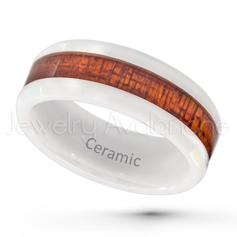 2 tone white ceramic wedding band 8mm polished finish