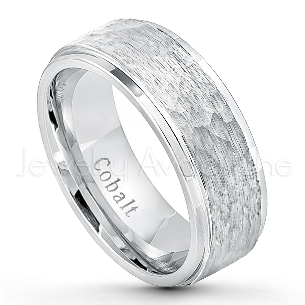 Hammered Finish Cobalt Wedding Band 9mm Comfort Fit Stepped Edge Chrome Ring