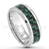 8mm Cobalt Wedding Band - Polished Comfort Fit Beveled Edge Cobalt Chrome Ring w/ Green & Black Carbon Fiber Inlay - Anniversary Ring CT287PL