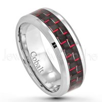 8mm Cobalt Wedding Band - Polished Comfort Fit Beveled Edge Cobalt Chrome Ring w/ Red & Black Carbon Fiber Inlay - Anniversary Ring CT291PL