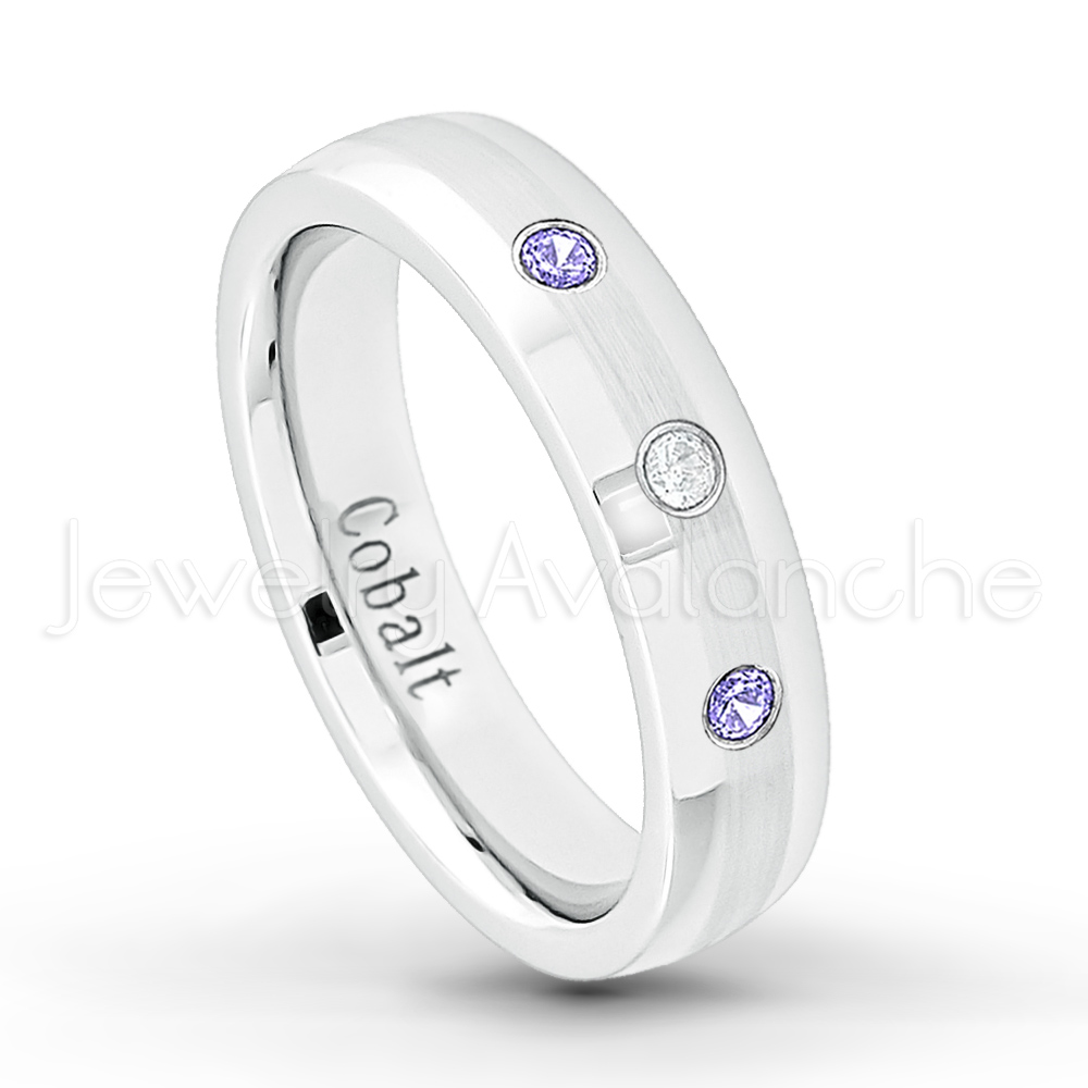 12 6MM Brushed Finish Comfort Fit Classic Dome White Wedding Band April Birthstone Ring 0.07ct Diamond Solitaire Titanium Ring