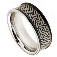 2-tone Cobalt Wedding Band - 8mm Matte Finish Black IP Comfort Fit Cobalt Chrome Ring with Tribal Pattern Engraving Design CT295PL