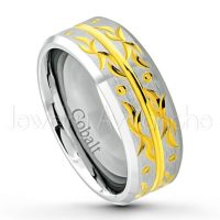 2-Tone Cobalt Wedding Band - 8mm Brushed Finish Comfort Fit Cobalt Chrome Ring - Yellow Gold Plated Grooved Center Cobalt Ring CT298PL