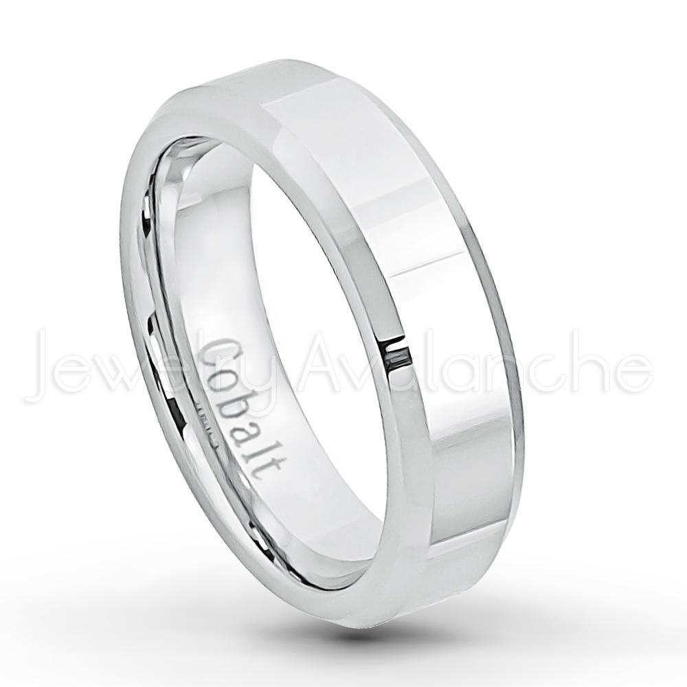 6mm Cobalt Wedding Band Polished Finish Comfort Fit Beveled Edge Cobalt Chrome Ring