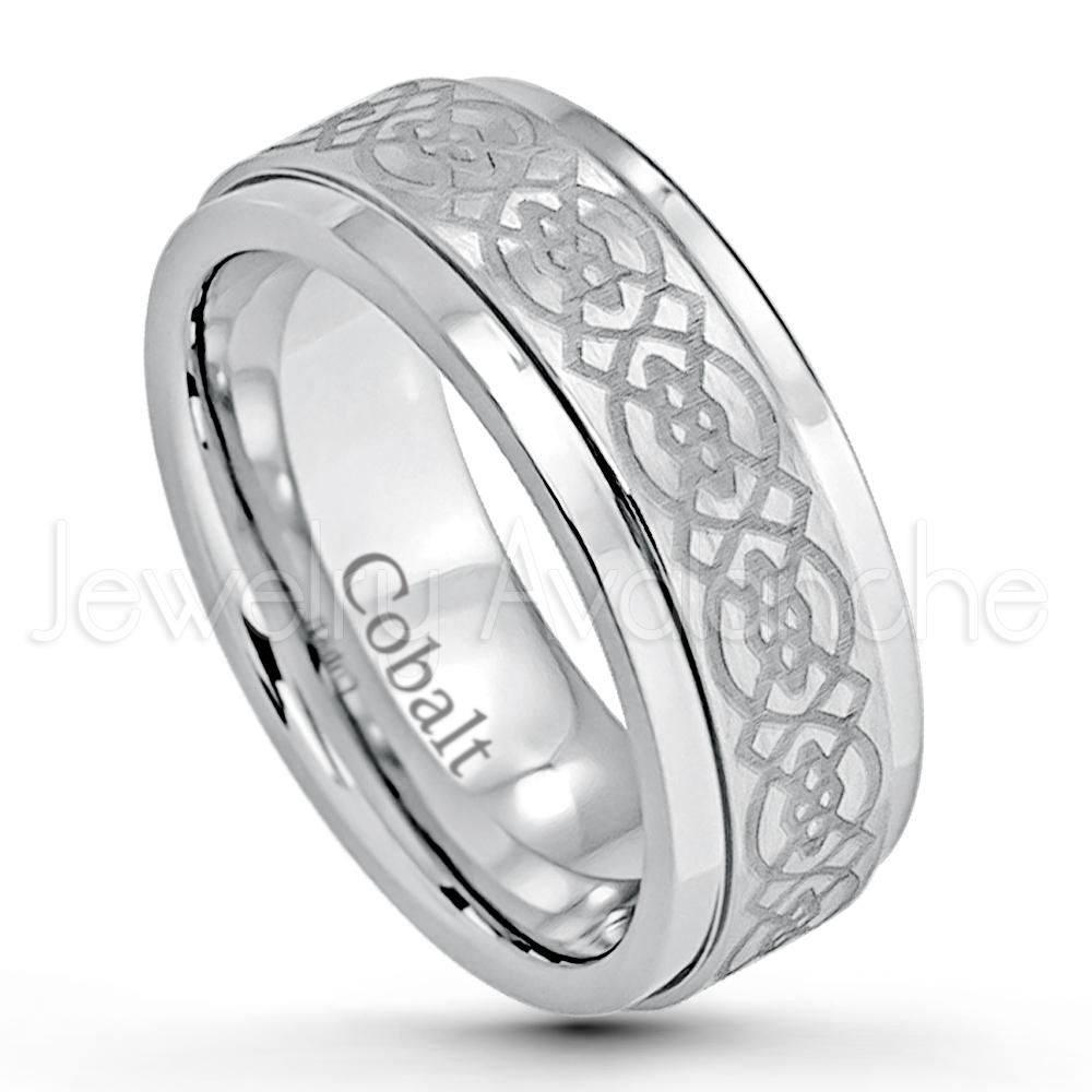 8mm Cobalt Wedding Band Brushed Finish Comfort Fit Cobalt Chrome Ring With Celtic Engraving