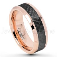 8mm Rose Gold Plated Cobalt Wedding Band - Polished Comfort Fit Cobalt Chrome Ring with Black Carbon Fiber Inlay - Anniversary Ring CT420PL
