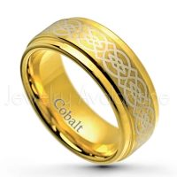 2-Tone Dome Cobalt Wedding Band - 8mm Brushed Finish Comfort Fit Cobalt Chrome Ring - Yellow Gold Plated Double Grooved Cobalt Ring CT299PL