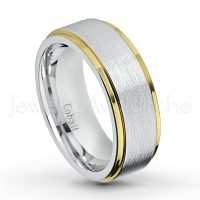 2-tone Cobalt Wedding Band - 8mm Brushed Finish with Yellow Gold Plated Stepped Edge Comfort Fit Cobalt Chrome Ring - Anniversary Band CT422PL