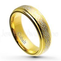 6mm Cobalt Wedding Band - Brushed Finish Yellow Gold Plated Comfort Fit Cobalt Chrome Ring w/ Celtic Knot Engraving - Anniversary Band CT421PL