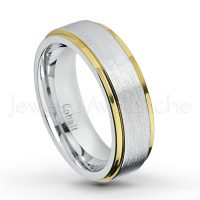 2-tone Cobalt Wedding Band - 6mm Brushed Finish with Yellow Gold Plated Stepped Edge Comfort Fit Cobalt Chrome Ring - Anniversary Band CT424PL