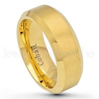 8mm Cobalt Wedding Band - Brushed Finish Yellow Gold Plated Comfort Fit Beveled Edge Cobalt Chrome Ring - Men's Anniversary Band CT426PL