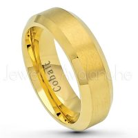 6mm Cobalt Wedding Band - Brushed Finish Yellow Gold Plated Comfort Fit Beveled Edge Cobalt Chrome Ring - Men's Anniversary Band CT428PL