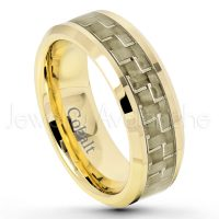 8mm Yellow Gold Plated Cobalt Wedding Band - Polished Comfort Fit Cobalt Chrome Ring with Golden Carbon Fiber Inlay - Anniversary Ring CT420PL