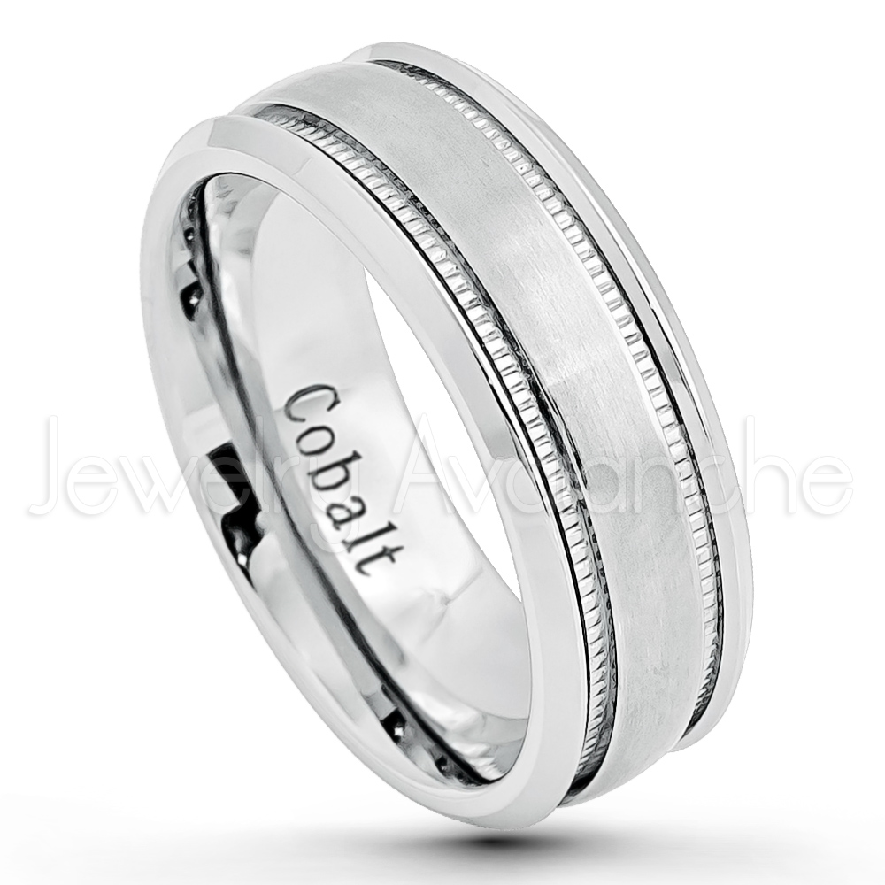 8mm Cobalt Wedding Band Brushed Finish Comfort Fit Cobalt Chrome
