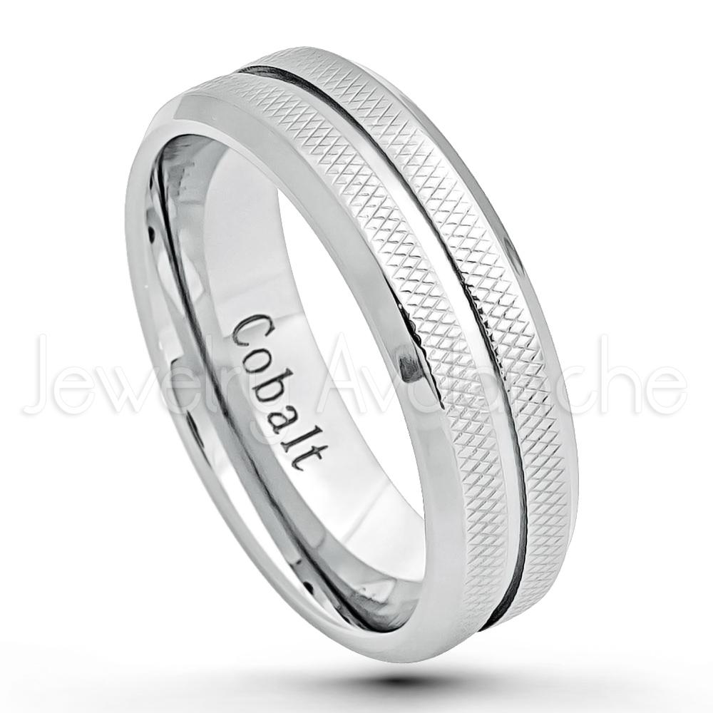 7mm Cobalt Wedding Band Polished Finish Comfort Fit Diamond Cut Cobalt Chrome Wedding Ring