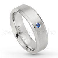 6mm Brushed Comfort Fit Dome Titanium Wedding Band January Birthstone Ring Solitaire 0.07ct Tsavorite Garnet Anniversary Ring TM557-1TVR