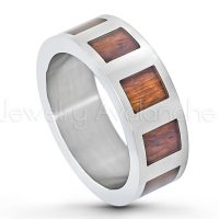 8mm Pipe Cut Titanium Wedding Band with Square Hawaiian Koa Rosewood Inlay - Comfort Fit Anniversary Band TM451PL