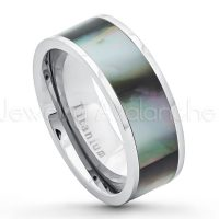 8mm Pipe Cut Titanium Wedding Band with Black Gradient Abalone Inlay - Comfort Fit Titanium Anniversary Band TM452PL