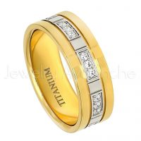7mm Titanium Wedding Band - Polished Yellow Gold Plated Comfort Fit Titanium Wedding Ring with 24 CZ Stones Accent TM455PL