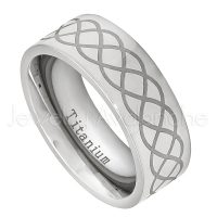 8mm Pipe Cut Titanium Wedding Band with Overlapping Infinity Engraving Design - Comfort Fit Anniversary Band TM458PL