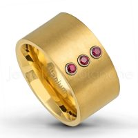 12mm Pipe Cut Titanium Wedding Band - 0.21ctw Ruby 3-stone Ring - Brushed Finish Yellow Gold Plated Titanium Band TM463-3RB