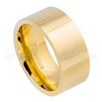 10mm Pipe Cut Titanium Wedding Band - Polished Finish Yellow Gold Plated Comfort Fit Titanium Ring TM469PL
