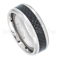 8mm Titanium Wedding Band - Polished Comfort Fit Beveled Edge Titanium Ring with Black Carbon Fiber Inlay - Anniversary Band TM471PL