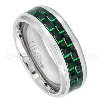 8mm Titanium Wedding Band - Polished Comfort Fit Beveled Edge Titanium Ring with Black & Green Carbon Fiber Inlay - Anniversary Band TM473PL