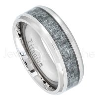 8mm Titanium Wedding Band - Polished Comfort Fit Beveled Edge Titanium Ring with Charcoal Gray Carbon Fiber Inlay - Anniversary Band TM474PL