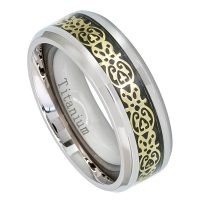 8mm Beveled Edge Titanium Ring with Yellow Gold Plated Cut-out Aztec Design over Black Carbon Fiber Inlay TM475PL
