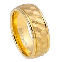 8mm Hammered Finish Titanium Wedding Band - Yellow Gold Plated Comfort Fit Titanium Wedding Ring - Anniversary Ring TM576PL