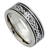 8mm Tribal Design Inlay Titanium Ring - Polished Comfort Fit Pipe Cut Titanium Ring with Tribal Design stainless Steel over Black Carbon Fiber Inlay TM499PL