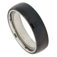 6mm Wood Inlay Titanium Wedding Band - Polished Comfort Fit Dome Titanium Ring with Laminated African Blackwood Inlay - Anniversary Ring TM500PL