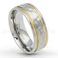 2-tone Titanium Wedding Band - 7.5mm Hammered Finish Comfort Fit Titanium Wedding Ring with Yellow Gold Plated Milgrain Edge- Anniversary Ring TM554PL