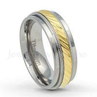 2-tone Titanium Wedding Band - 7.5mm Polished Finish Yellow Gold Plated Diamond Cut Comfort Fit Titanium Wedding Ring - Anniversary Ring TM555PL