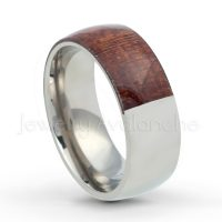 Double Sided Wood & Titanium Wedding Band - 8mm Polished Comfort Fit Half Mahogany Wood Half Dome Titanium Wedding Ring - Anniversary Ring TM556