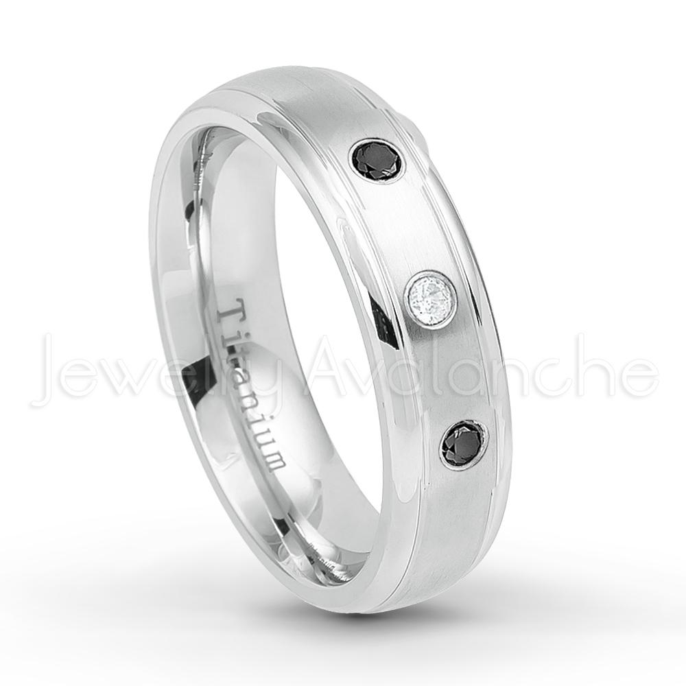 0.21ctw Black Diamond 3-Stone Titanium Ring April Birthstone Ring 6MM Brushed Finish Comfort Fit Classic Dome White Wedding Band 7.5
