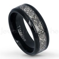 8mm Black IP Titanium Ring with Celtic Dragon Design Inlay - Polished Beveled Edge Comfort Fit Wedding Band TM563PL