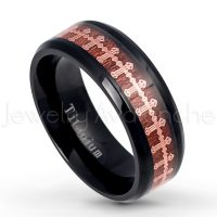 8mm Black IP Titanium Ring with Rose Gold Plated Cross over Rosewood Inlay - Beveled Edge Comfort Fit Wedding Band TM567PL