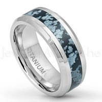 8mm Polished Comfort Fit Titanium Wedding Ring with Blue & Gray Riverstone Inlay TM570P