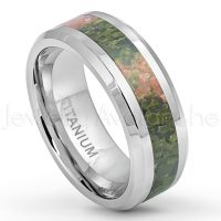 8mm Polished Comfort Fit Titanium Wedding Ring with Orange & Green Riverstone Inlay TM572PL